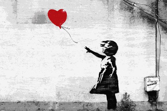 let go heart ballon